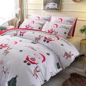 Image 2 - Weihnachten Bettwäsche Sets 2/3 stücke Cartoon Bettbezug set Santa Claus Single/Königin/König Größe bettwäsche Bettwäsche