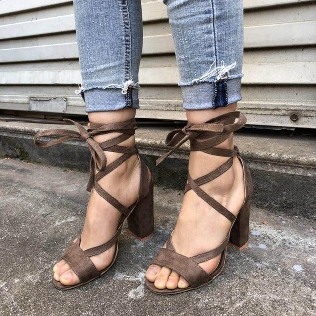 2363e0d0d94 Dijigirls 2018 Summer Sandals Women High Heels Gladiator Sandals Women s  Shoes Ankle Strap Lace-up Sexy Pumps Sandali Eleganti