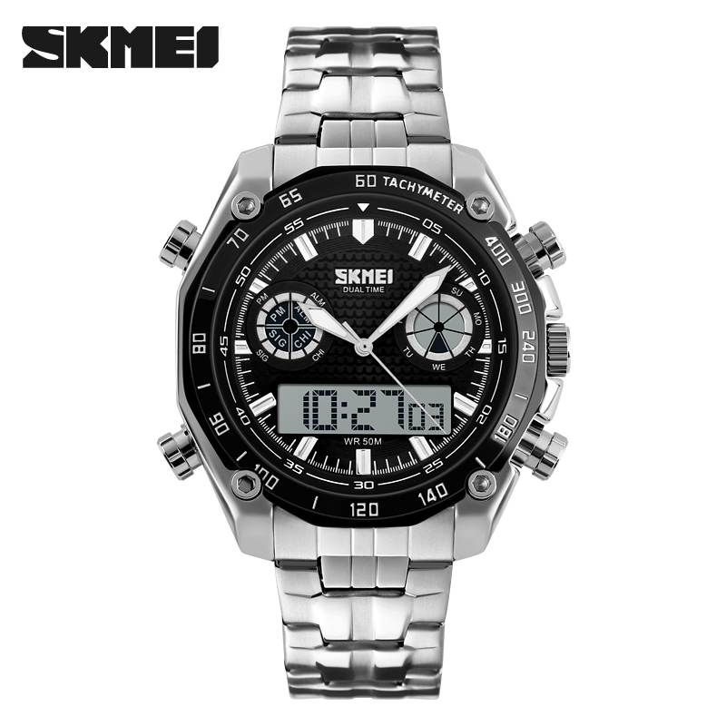 SKMEI Brand Men Sports Watches Outdoor Military LED Watch Fashion Digital Quartz Multifunctional Wristwatches 1204 skmei brand fashion digital quartz watch men shock resistant waterproof sports military watches men s casual led wristwatches