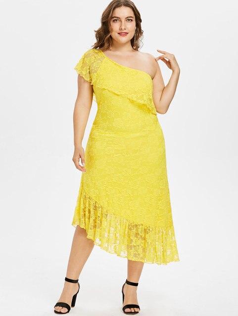 31280a6b22 Gamiss Plus Rozmiar Lace Midi Sukienka Jedno Ramię Asymetryczna Sukienka  krótkie Rękawy Ruffle Floral Elegancki Party