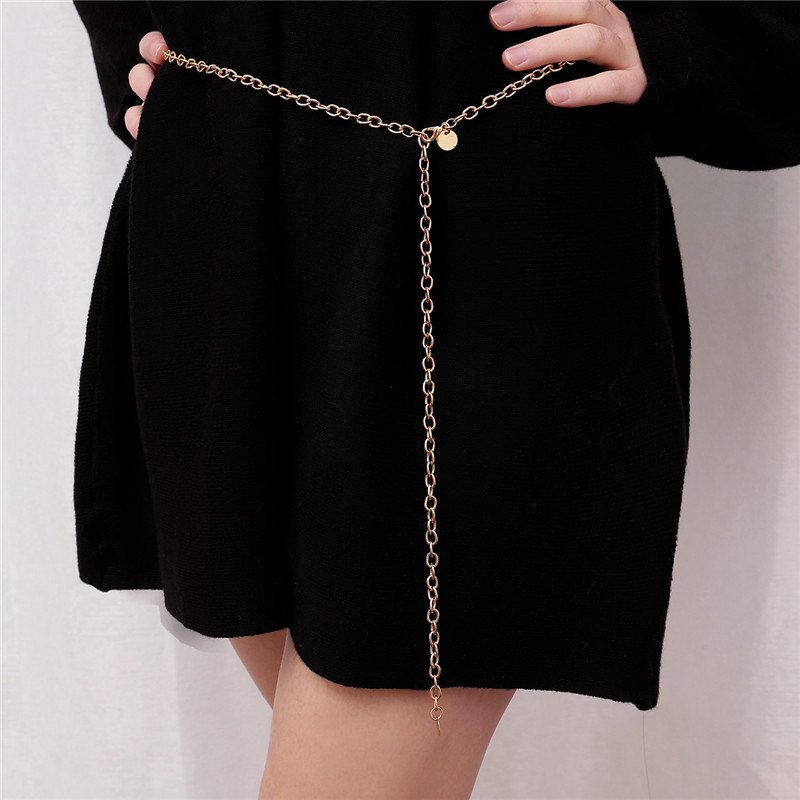 Women Thin Chain  Female Gold Silver Waist Body Small Dress Chain Belt Ladies Tassel Sequins Metal Belt Ketting Riem W3