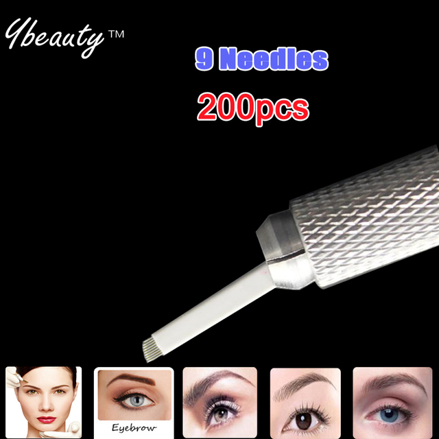 Eyebrow Tattoo 200pcs 9 Pins Permanent Makeup Needles For Eye Tattoos Prong Flat Blades 3d Microblading Embroidery