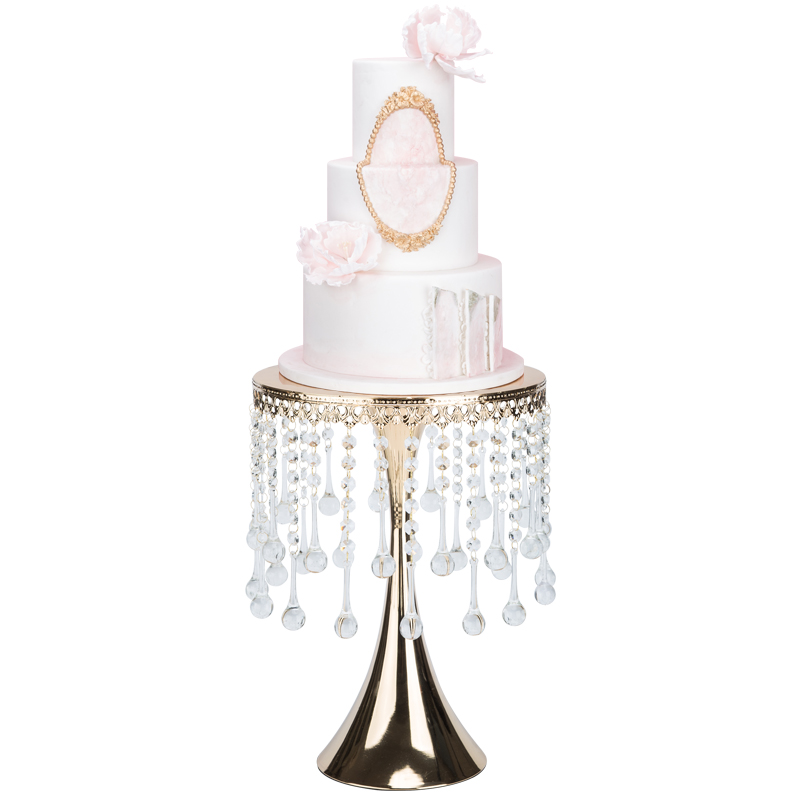 Silver high feet cake stand with crystal quality fondant cake decorating tools dessert table wedding party