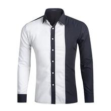 2017 Fashion Brand Men Shirt Black White Dress Shirt Long Sleeve Slim Fit Camisa Masculina Casual Male Hawaiian Shirts D1