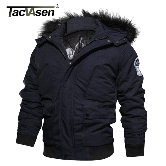 TACVASEN Brand Men Winter Military Jacket Army Thermal Hooded Pilot Jacket Coat Thicker Casual Parkas Bomber Cotton Coat