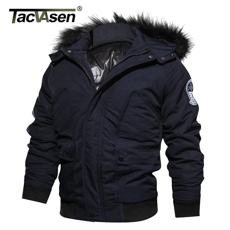 TACVASEN marque hommes hiver veste militaire armée thermique à capuche pilote veste manteau plus épais décontracté Parkas Bomber coton manteau-in Vestes from Vêtements homme    1