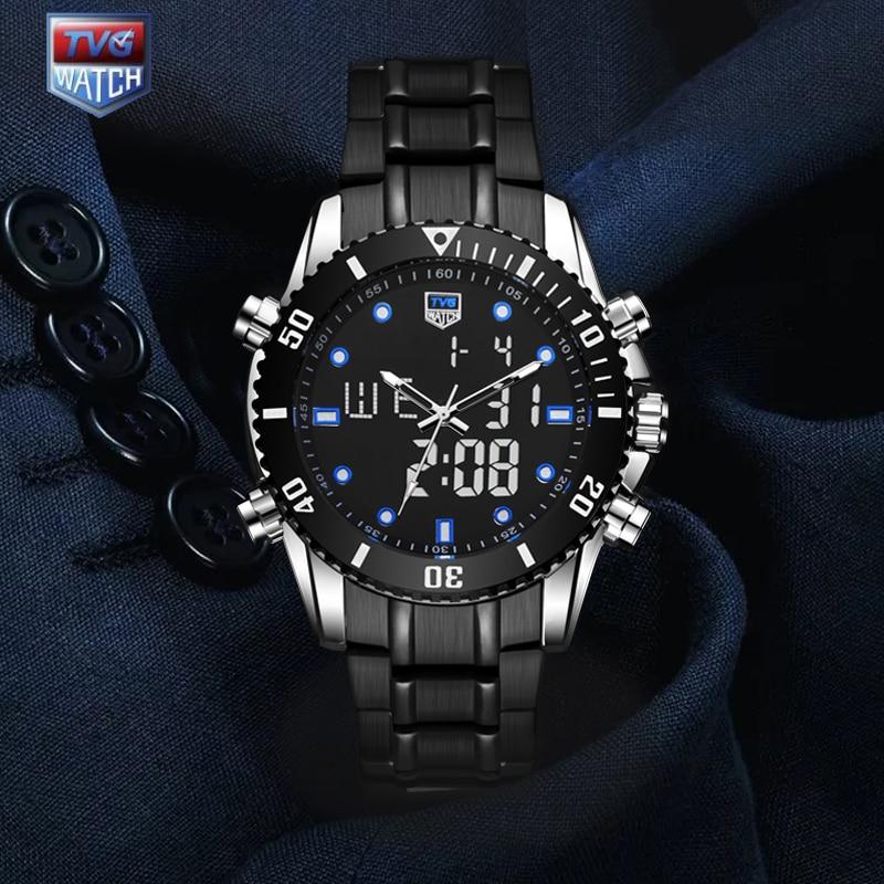 TVG 2019 Hight Quality New Luxury Stainless Steel Stop Watch Sport Watch Men LED 100FT Waterproof Wrist Watches BLUE