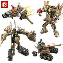 2in1 Military Helicopter Cars Model Transformation Robot Action Figures Weapons Building Blocks Compatible Legoed Army Kids Toys