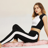 2019 white black patchwork zipper vest sport wear tee shirt sport femme gym set mujer compresive clothing quick dry racing suit