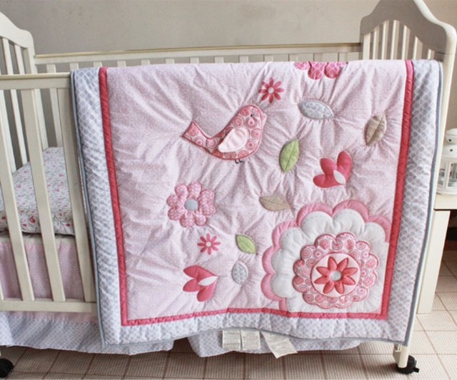Happy Bird Baby Girl Bedding Set 7pcs Pink Crib Bedding Set For