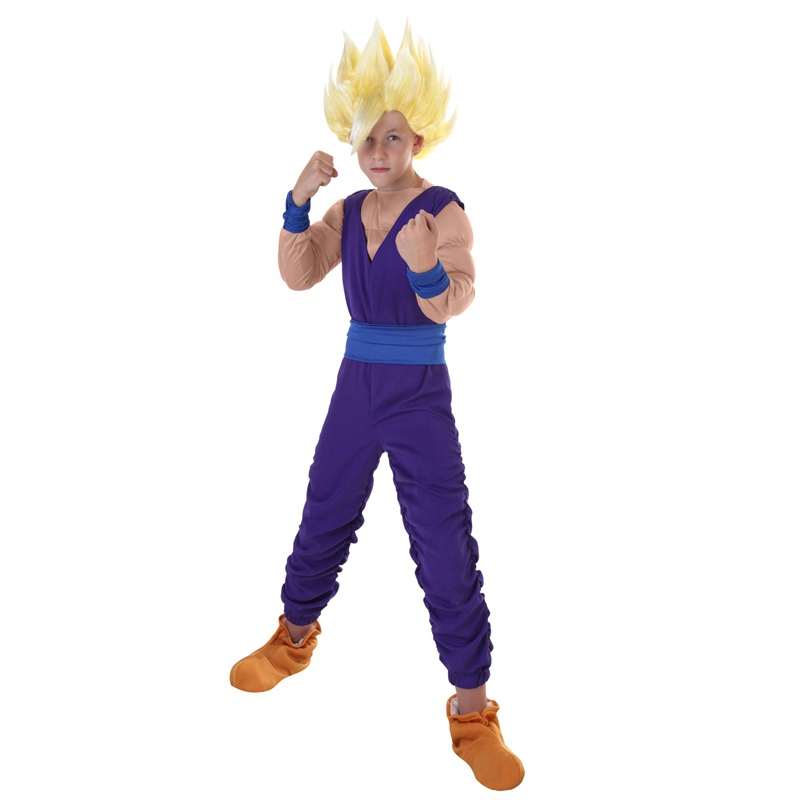 Child Gohan Anime Cosplay Costume Mighty Warrior From Dragon Ball Z Kids Signature Purple Fighting Gear
