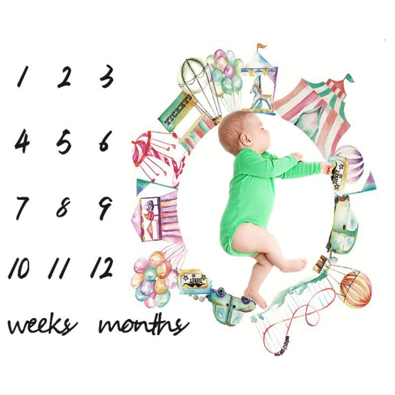 Newborn Weeks Monthly Milestone Photography Props Blankets Child Baby Infants Growth Photo Background Cloth Blanket