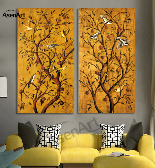 2 piece set birds on tree painting vintage paintings for living room