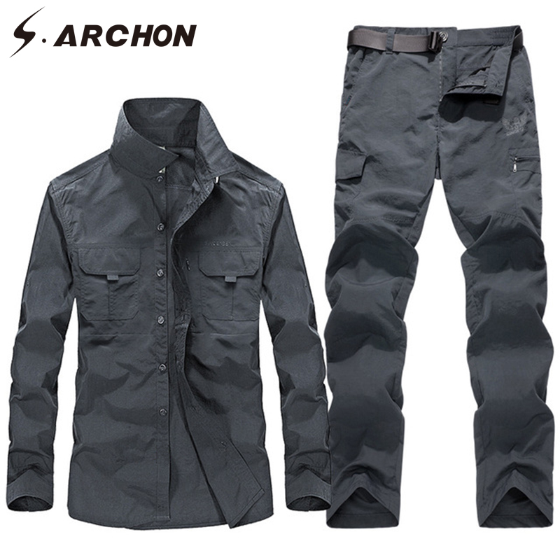 S.ARCHON Summer Military Uniforms Men Tactical Quick Dry Shirts Cargo Pants Combat Army Suit Airsoft Work Hunt Clothing Sets