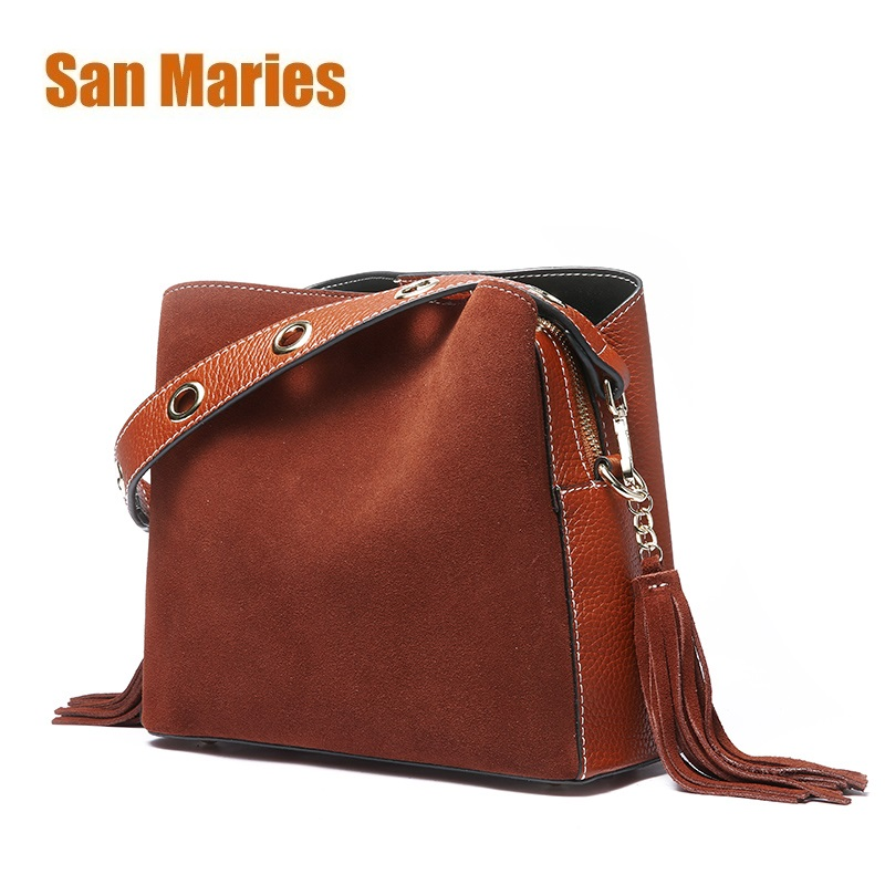 San Maries Tassel Genuine Leather Handbag Women Bag Female Shoulder Crossbody Bag Suede Leather Women Messenger Bag Bucket Tote lunev