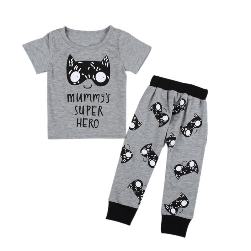 2017 Newborn Infant Baby Kids Boys Cotton T-shirt Tops+Pants Outfits Sets Short Sleeve Cartoon Clothes