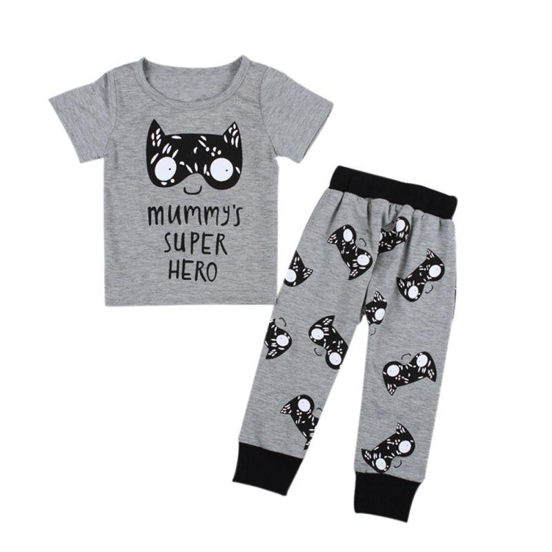 2017 Newborn Infant Baby Kids Boys Cotton T-shirt Tops+Pants Outfits Sets Short Sleeve Cartoon Clothes