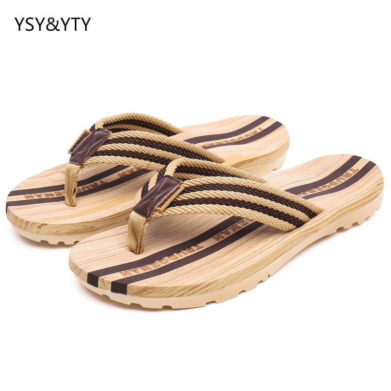 Shoes Popular Brand 2019 New Mens Shoes Flip Flops Mens Rubber Bottom Mens Non-slip Feet Feet Slippers Wood Wear Beach Slippers Men's Shoes