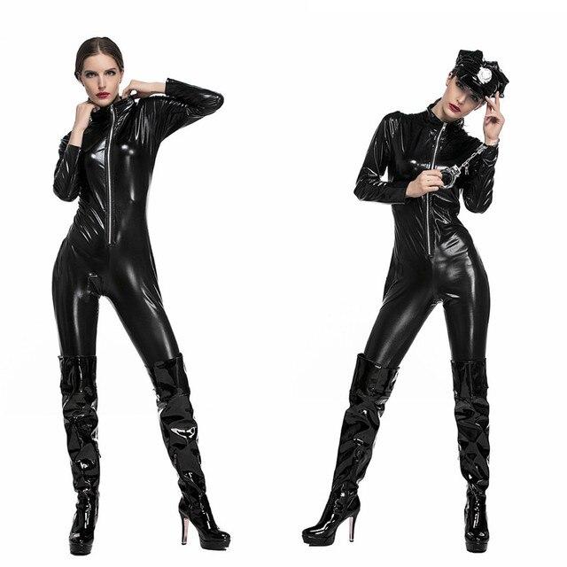 Mujeres sexy Halloween apretado trajes de moto cuero traje mujer policía  Cosplay baile rol carnaval nightclub 2c43d4f208b