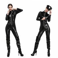 Women Sexy Halloween Tight Leather Motorcycle suits Costume Policewoman Cosplay Pole dancing Role play Carnival Nightclub dress