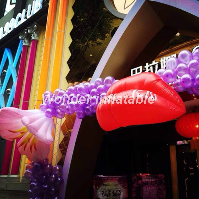 Most popular hanging LED lighting 2m red sexy giant inflatable lip for night club/wedding/valentines decoration