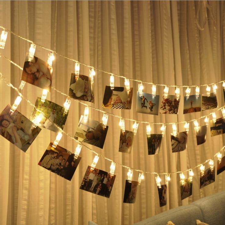1-5 m Foto Della Clip Led luce Della Stringa Personalizzata Decorazione di Cerimonia Nuziale Stellato Photo Holder String Luce Festa di Compleanno Di Natale Decor