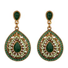 indian jewelry Trendy Crystal Statement Earrings Wedding Drop Earrings Women Party Hanging Earrings Jewelry Wholesale