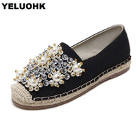2018 New Spring String Bead Handmade Shoes Women Flats Fashion Canvas Shoes Woman With Rhinestone Women