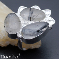 Hermosa Jewelry Classic Fashion RUTILATED QUARTZ 925 Sterling Silver Engagement Rings 7 HM493