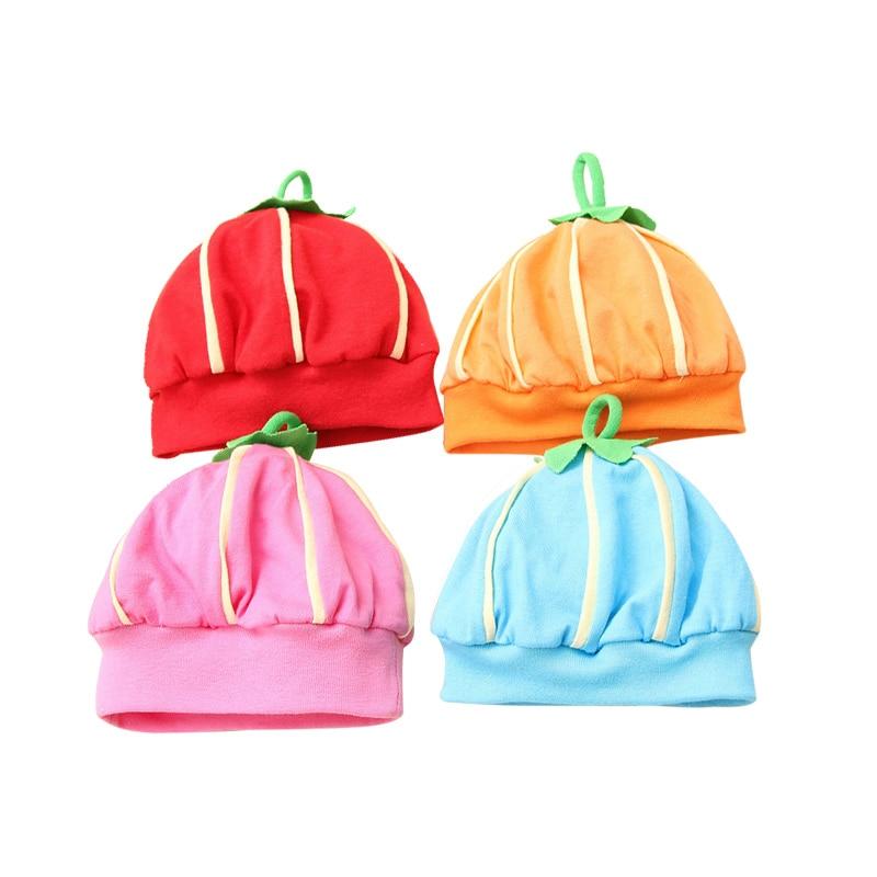 Pumpkin Baby Hat Cute Newborn Baby Tire Hat Cotton Solid Baby Beanie Lovely Boy Girl Beanie Spring Newborn Baby Boys Clothing