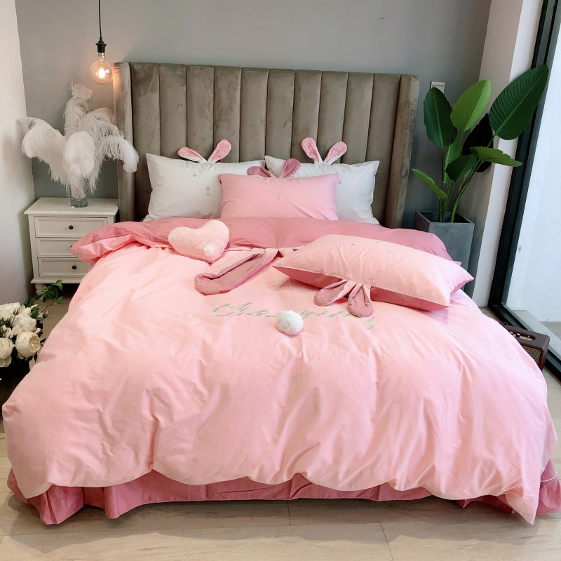 New Pink White Cute Rabbit Ears Embroidery 100% Cotton Girl Bedding Set Duvet Cover Bed Sheet/Linen Pillowcases Gift For Child