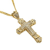 Fashion Mens Vintage Cross Pendant Necklaces Full Rhinestone Jewelry 27 6 Inch Chain Men Cross Necklace