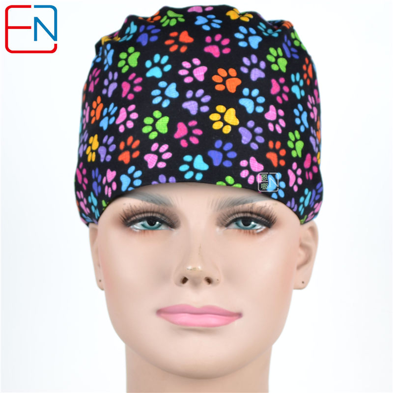 Hennar Women Scrub Caps Medical Doctors Nurses Printed Hospital Clinical Surgical Accessories Cotton New Hats Masks Sets