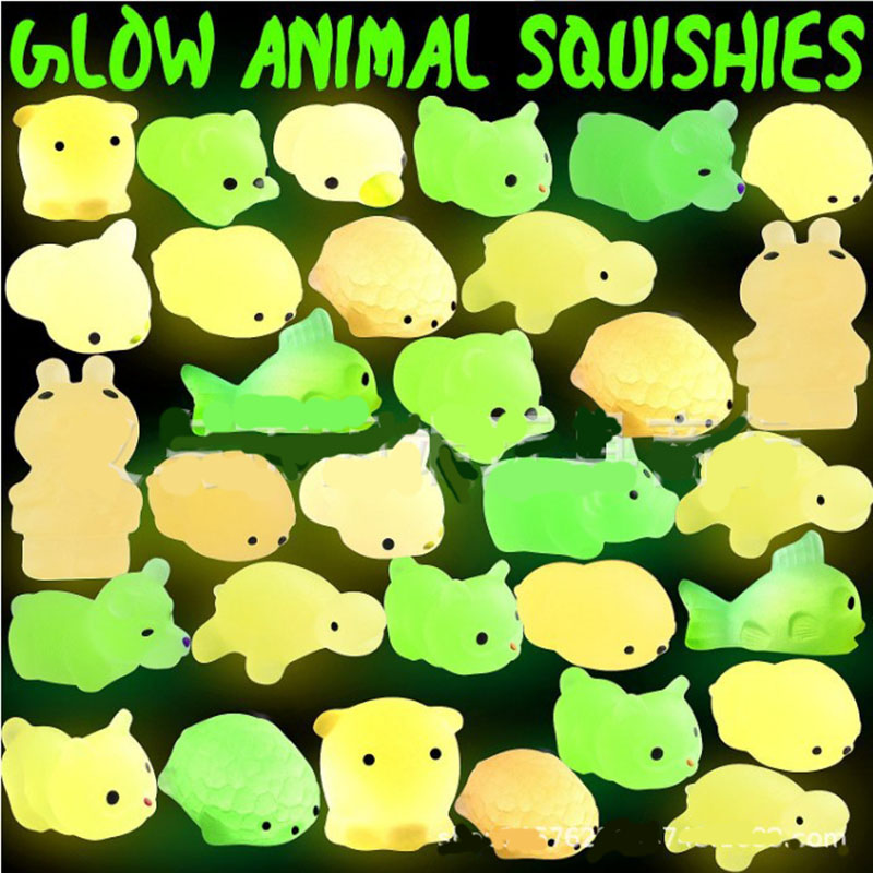 3Piece Squishy Slow Rising Squishi Kawaii Toys Set Glow In The Dark 2018 New Glow Animals Squishy Toy Squeeze Squishiest Kid Toy