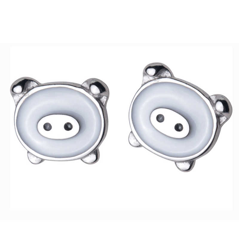 MloveAcc śliczne prawdziwe srebrne świńskie kolczyki dla kobiet 925 srebro kolczyki biżuteria