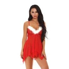 Женское сексуальное нижнее белье кружевная меховая Ночная сорочка с оборкой леди экзотическое платье нижнее белье lenceria сексуальная Nuisette Babydoll для рождественского подарка