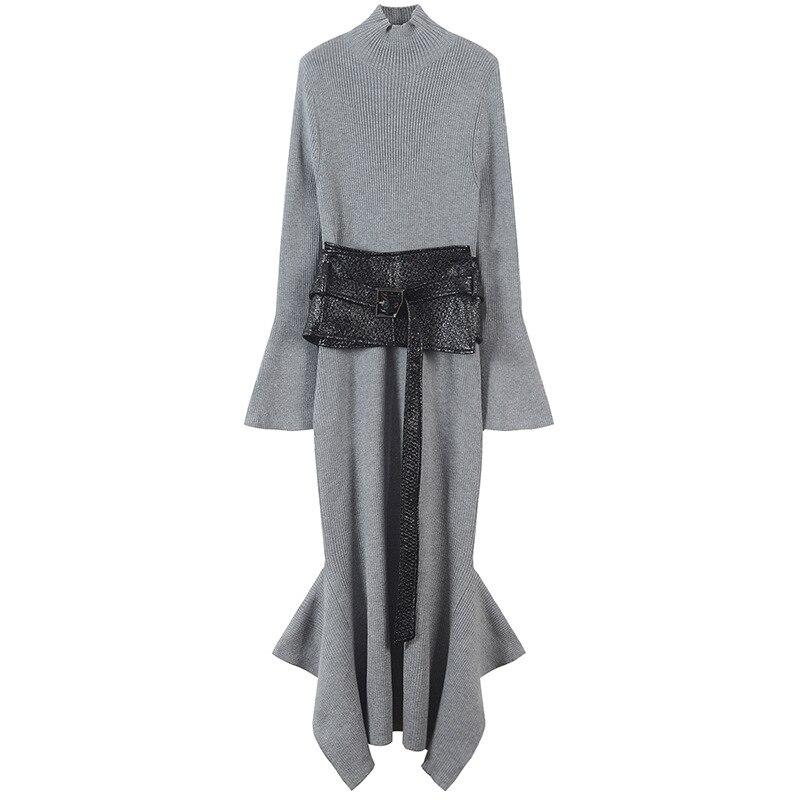 Slim Sashes elegancka sukienka Femme zima szata kobiety sukienka asymetryczna Hem podział swetry dzianiny Vestido Runway projekt w Suknie od Odzież damska na  Grupa 1