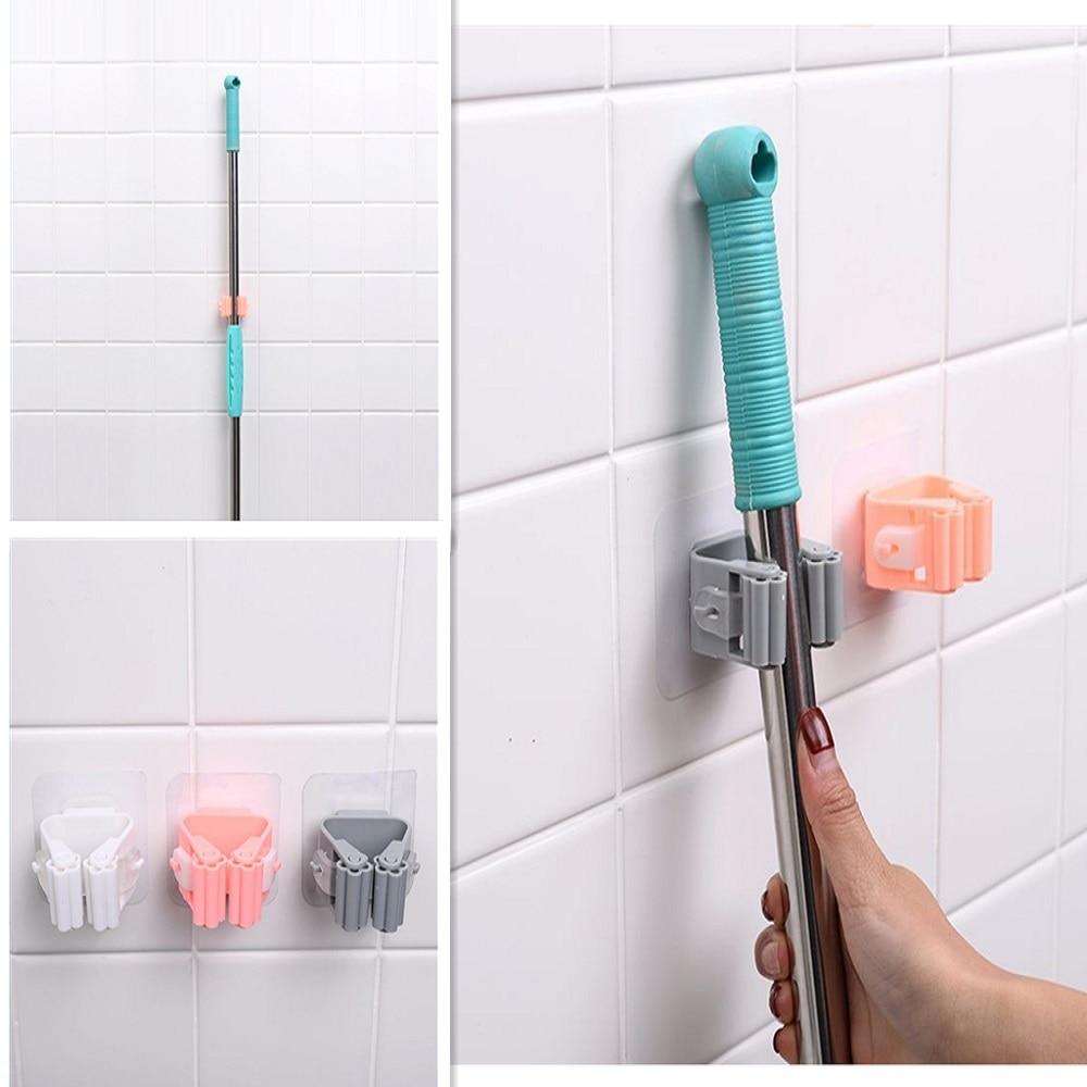 1Pc Mop Broom Holder Wall Mounted Mop Holder Household Adhesive Storage Broom Hanger Mop Hook Racks Kitchen Bathroom Organizer