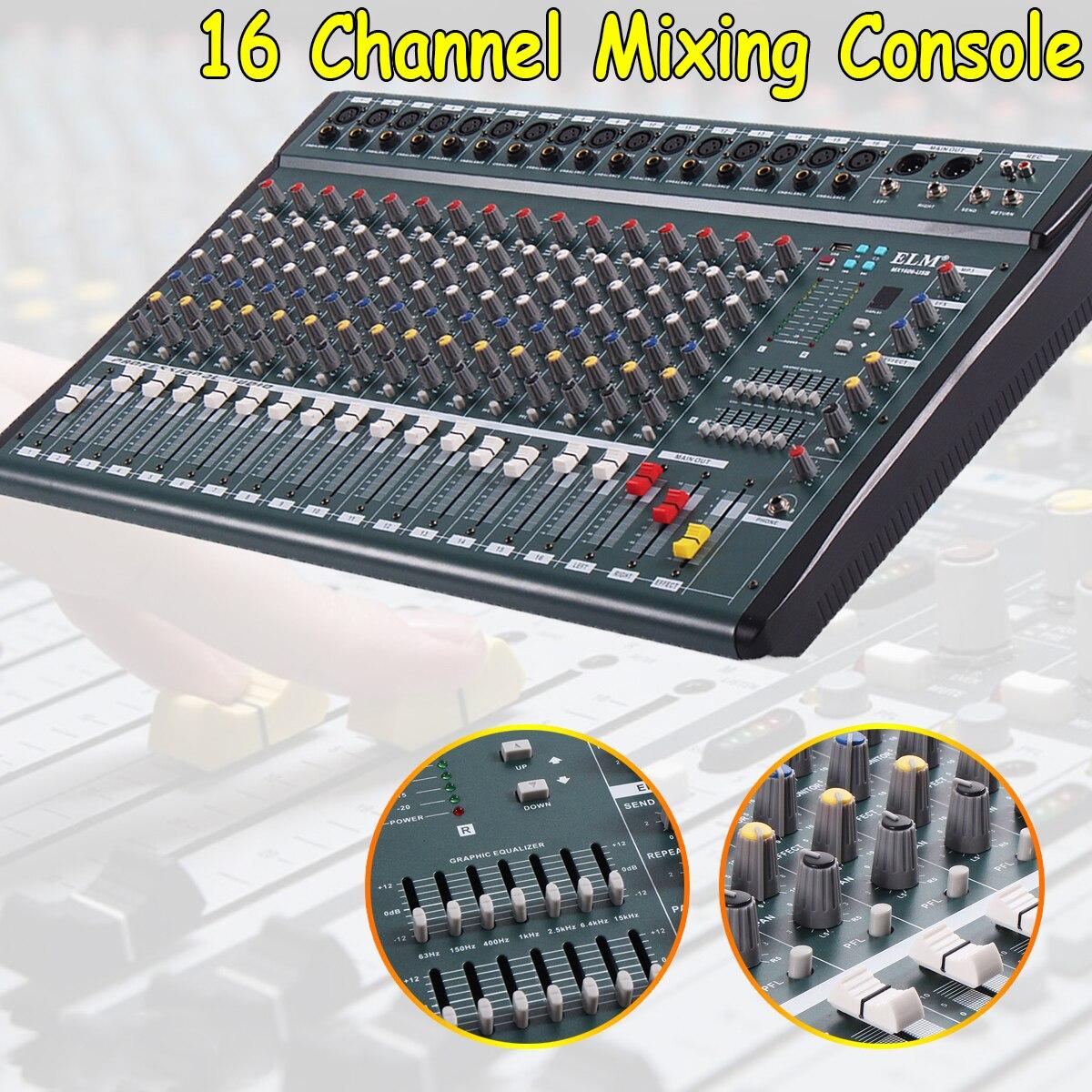 16-канальный 110 V-220 V караоке аудио микшер Mini Микрофон Звук микшерный пульт с USB Phantom Мощность