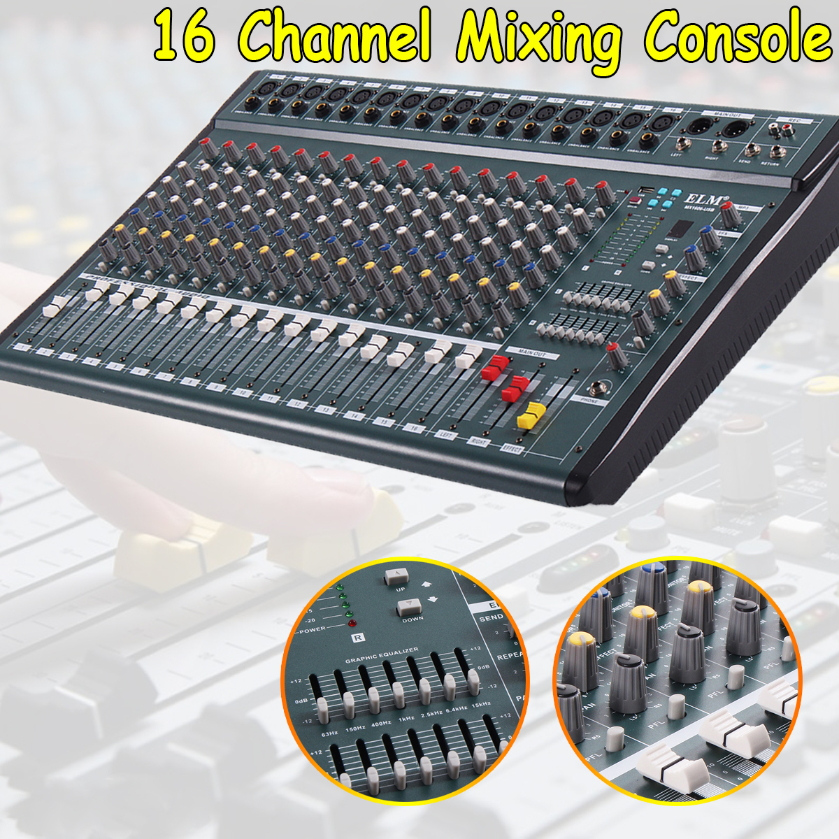 16 Channel 110V-220V Karaoke Audio Mixer Amplifier Mini Microphone Sound Mixing Console With USB Phantom Power leory mini karaoke audio mixer 4 channel microphone digital sound mixing amplifier console built in 48v phantom power with usb