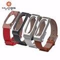 Mijobs práctica correa de cuero pulsera imán metal shell de reemplazo para xiaomi segunda generación inteligente venda de los accesorios