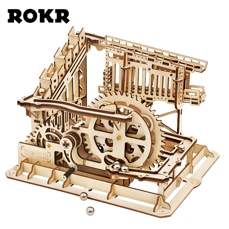 ROKR DIY Marble Run Game 3D Wooden Puzzle Gear Drive Cog Coaster Model  Building Kit Toys for Children Adult LG502