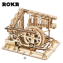 ROKR DIY Marble Run Game 3D Wooden Puzzle Gear Drive Cog Coaster Model Building Kit Toys for Children Adult LG502 rokr diy 3d wooden puzzle train model clockwork gear drive locomotive assembly model building kit toys for children adult lk701
