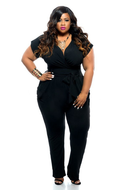 58a19f5a14f5 Black/blue super sexy deep V neck jumpsuits plus size tie waist jumpsuit  narrow feet jumpsuits for big size women club wear