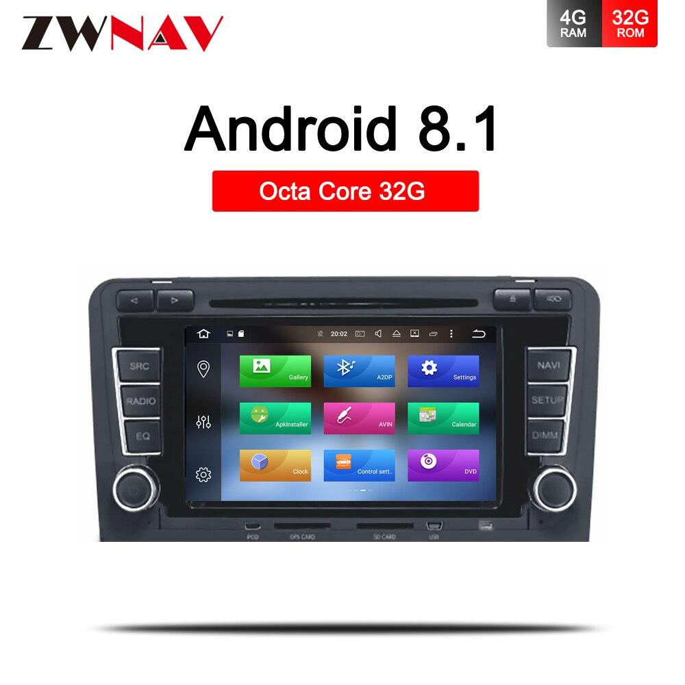 Android 8.1 voiture DVD GPS pour Audi A3 8P 2003 + S3 2006-2012 RS3 Sportback 2011 lecteur multimédia stéréo radio vidéo BT carte Wifi