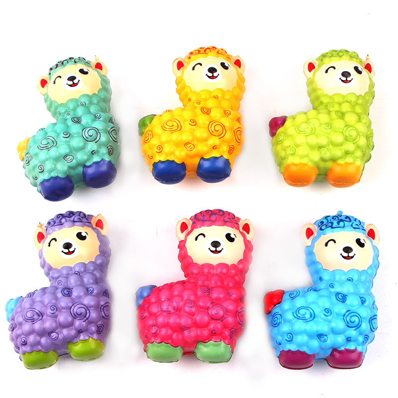 Squishy Slow Rising Jumbo Kawaii Scented Rainbow Color Sheep Alpaca Squishy Squeeze Toy Reliever Stress Gift Mobile Phone Straps