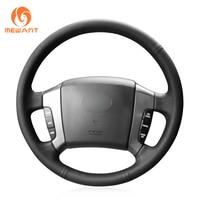 MEWANT Black Genuine Leather Anti slip Hand Sew Wrap Car Steering Wheel Cover for Kia Sorento 2004 2005 2006 2007 2008