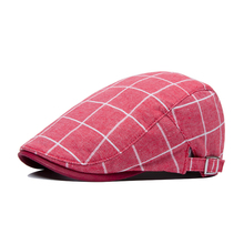 Men and women classic retro plaid cap street shopping and leisure tourism hat 55-59cm adjusted red blue coffee 2R051