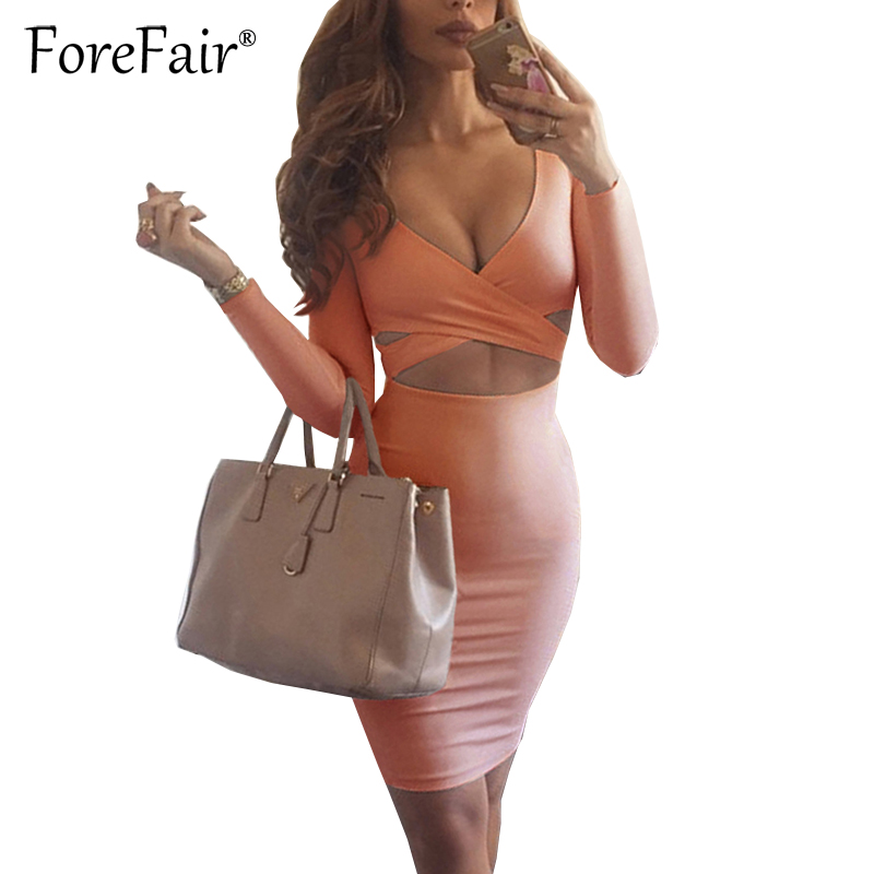 Forefair Sexy Criss Cross V Neck Bodycon Dress Women Autumn Winter Long Sleeve Night Club Wear Party Dresses Vestidos de festa 4