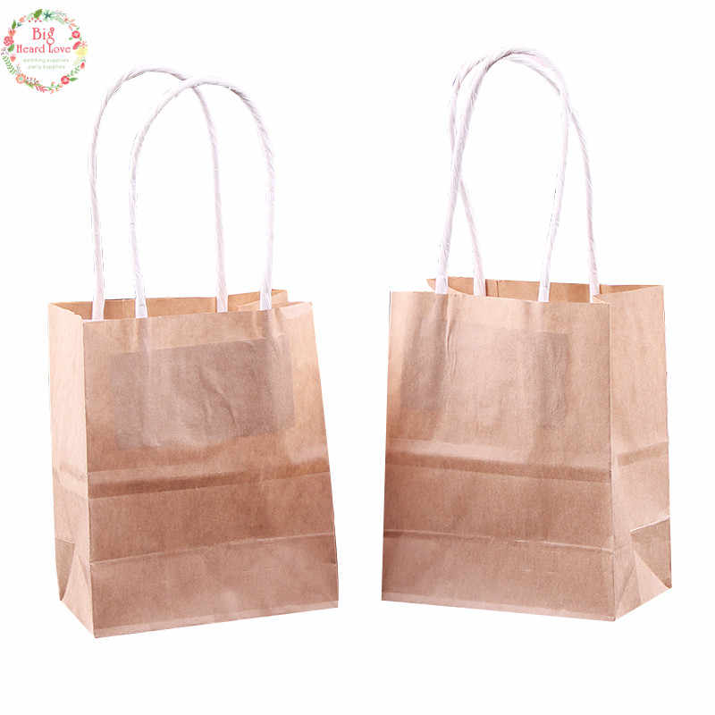 01f420cc58 10pcs 9x5.5x11cm Kraft Paper Bags With Handles Festival gift Bags For  Wedding And Party